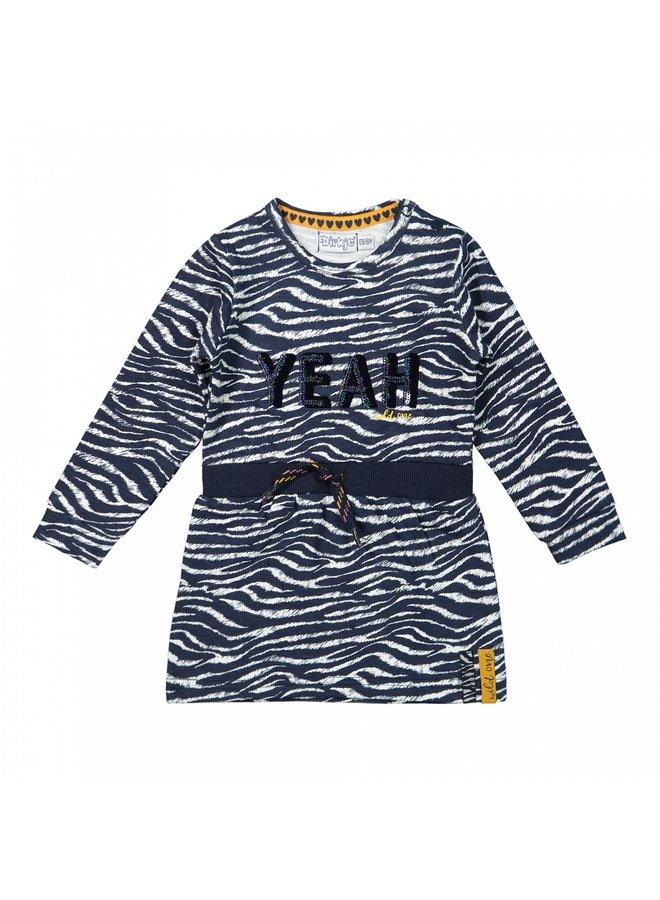 Girls Dress Navy/Offwhite