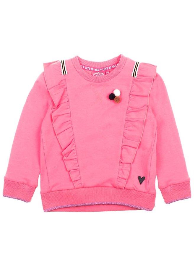 Animal Attitude Sweater ruches Roze