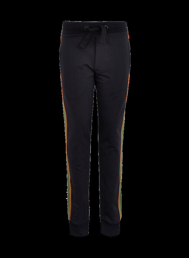 Joggingbroek Black/ Green met zijstreep