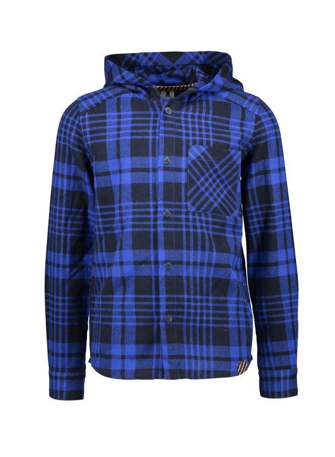 Boys hooded check shirt with patched pocket