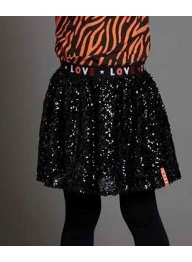 Blushing Zebra Pailetten Rok Zwart