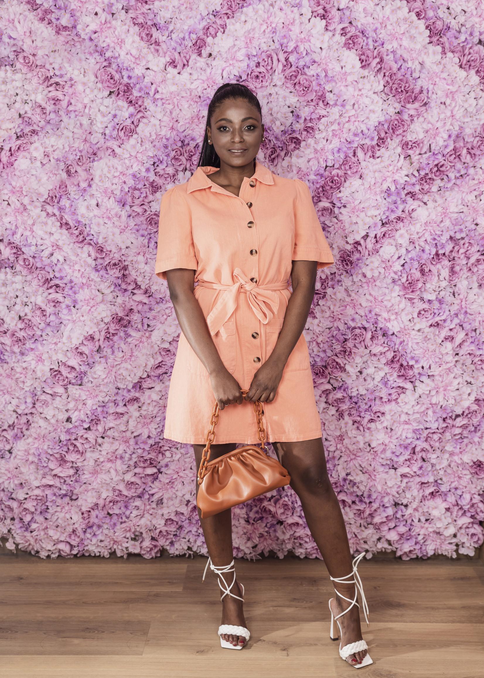 Chrissie orange jurk