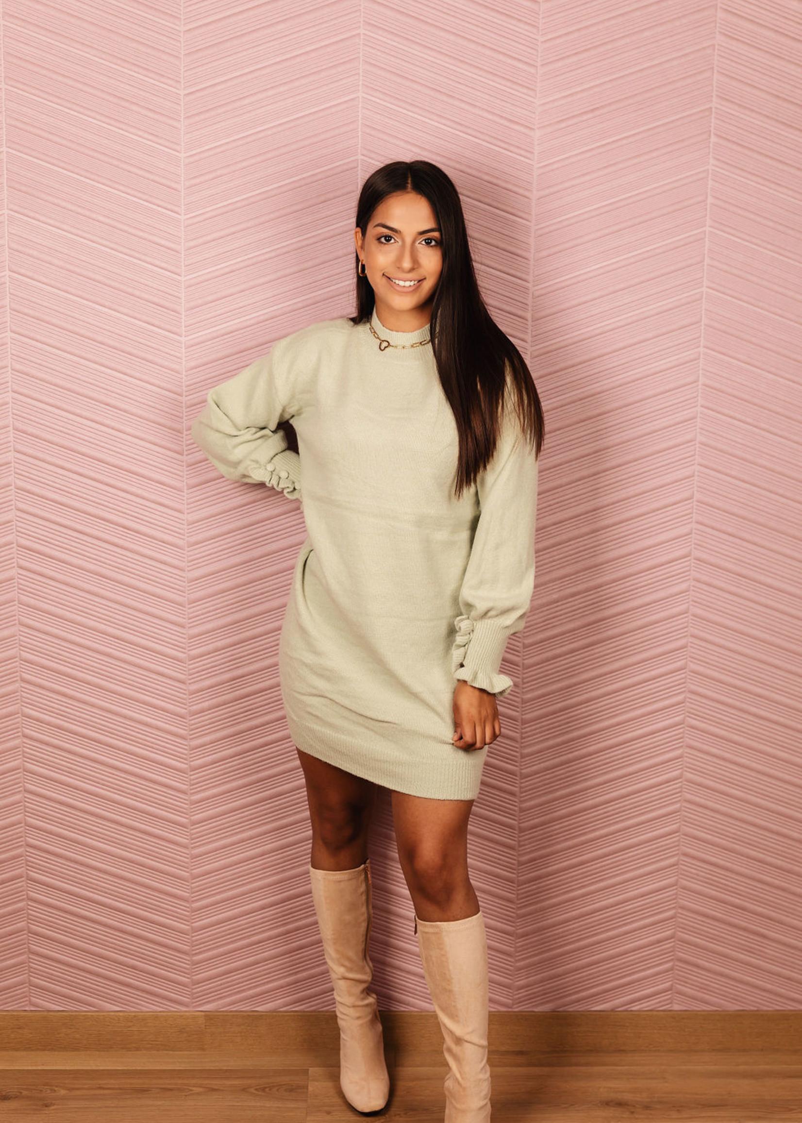 Knitwear dress met mouwdetail