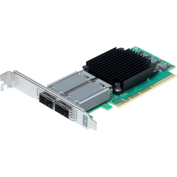 Atto Atto FastFrame N312 QSFP28 Optical Interface - Dual Port 10/25/40/50/100GbE PCIe 3.0 Network Adapter