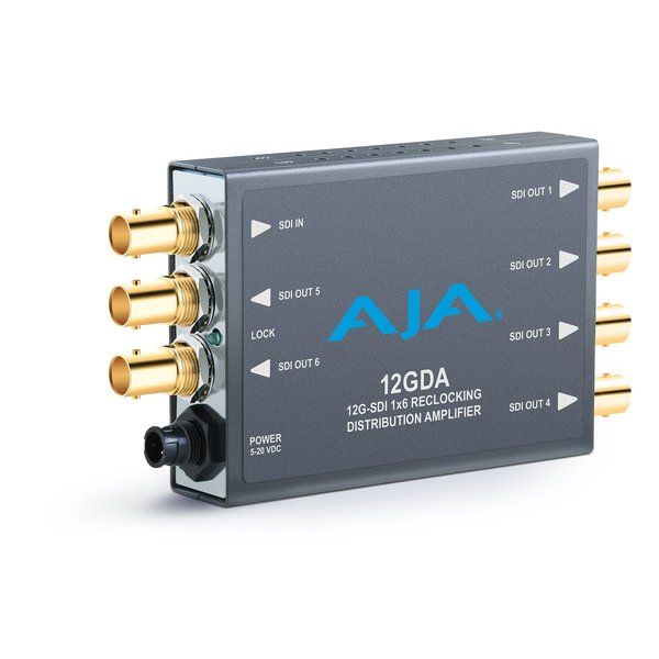 AJA AJA 12GDAis a miniature 1x6 12G-SDI reclocking distribution amplifier