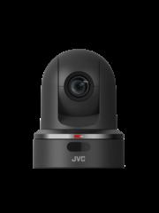 JVC JVC KY-PZ100BEBC PTZ IP production camera (black) with graphic overlay