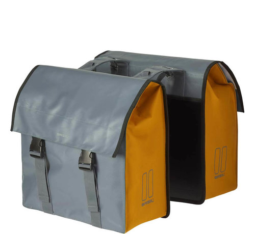 Basil dubbele tas urban load grijs/geel Tassen