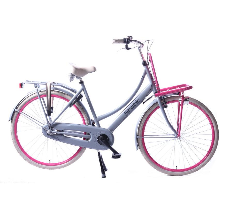 transporter 3v grijs roze Damesfiets
