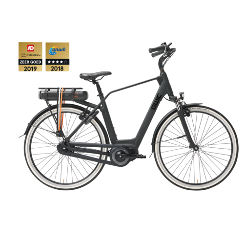 Qwic e-bike premium mn7 matte black Elektrische fiets heren