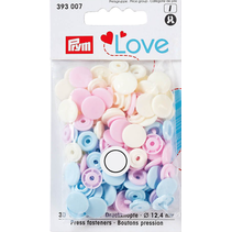 Love drukknoop Color KST 12,4 mm rosa/hellblau/perle