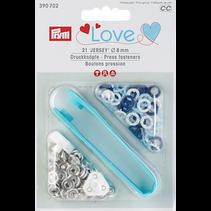Love drukknoop Jersey Color MS 8 mm blau/weiß/hellblau