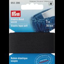 Band-elastiek zacht 30mm zwart 1m