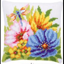 Kruissteekkussen Kit kleurige bloemen