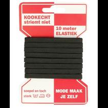 Zwarte elastiek 10mm 5m (rode kaart)