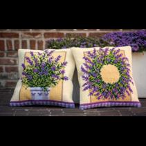 Kruissteekkussen kit lavendelpot