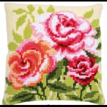 Kruissteekkussen kit rozen