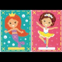 Borduurkaart kit Ballerina en zeemeermin