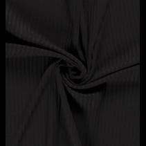 Tricot ribbel effen zwart (per 10cm)