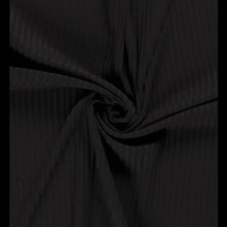Nooteboom Tricot ribbel effen zwart (per 10cm)