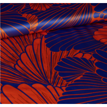 Bloemen oranje blauw 801 145cm(per 10cm)