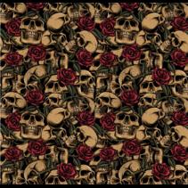 Poplin Skulls With Roses(per 10cm)