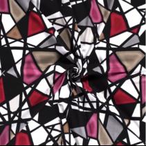 Jersey stof bedrukt met abstrakt Zwart