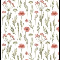 Tricot stof digitaal bedrukt met twijgen en bloemen