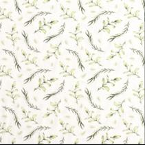 Tricot stof digitaal bedrukt met twijgen in de kleur gebroken wit