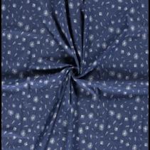 Jeans stof bedrukt met bloemen in de kleur blauw