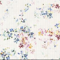 Linnenlook stof bedrukt met planten in de kleur wit (per 10cm)