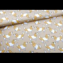 Doggy beige cotton jersey 155cm   (per 10cm)