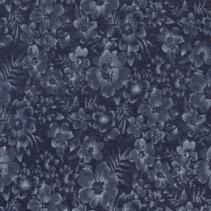 Jeans stof bedrukt met bloemen in de kleur navy
