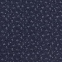 Jeans stof bedrukt in de kleur navy