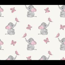 Tricot stof digitaal bedrukt olifantjes