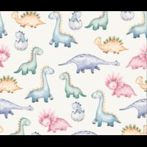 Tricot stof digitaal bedrukt kleurrijke dinos