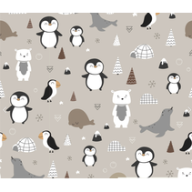 Tricot stof bedrukt met pinguins en iglos