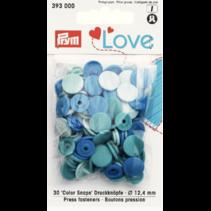 Love drukknoop Color 12,4 mm assortiment blauw