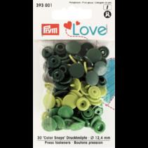 Love drukknoop Color 12,4 mm assortiment Groen