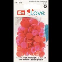 Love drukknoop Color 12,4 mm assortiment Rood