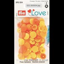 Love drukknoop Color 12,4 mm assortiment oranje/geel