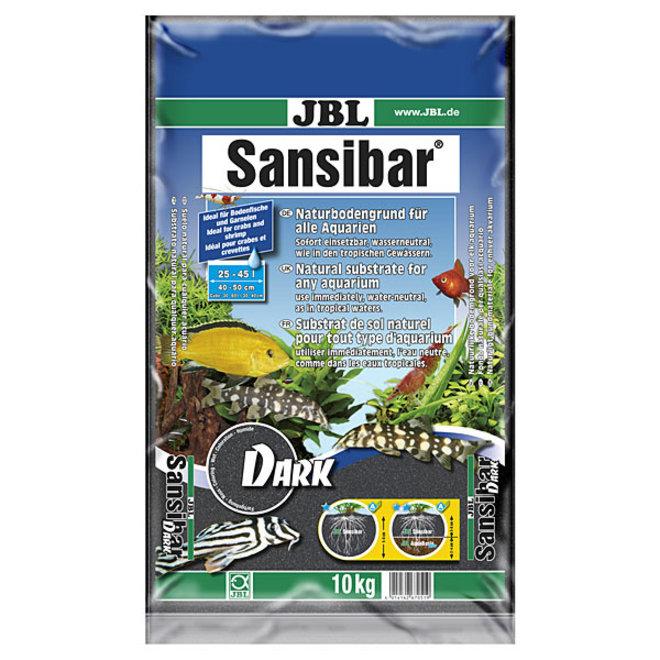 JBL Sansibar Dark 10 kg, fijne zwarte bodemgrond