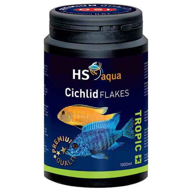 HS Aqua / O.S.I. Cichlid flakes 1000 ml/200 g, cichliden vlokkenvoer