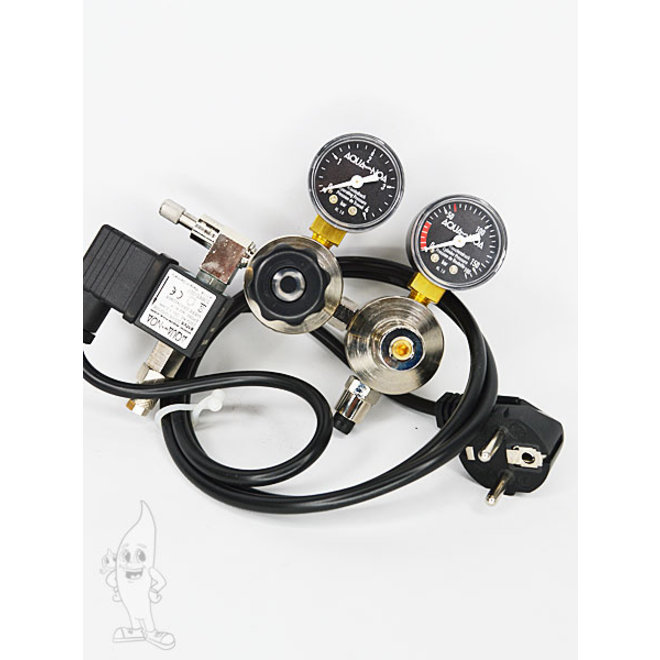 Aqua-Noa CO2 tweetraps dubbele kamer drukregelaar MM+ incl. magneetventiel voor hervulbare flessen