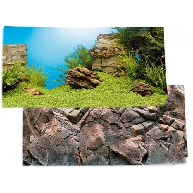 Juwel achterwand poster 1 XL 150x60 cm onderwaterlandschap / rotsmotief