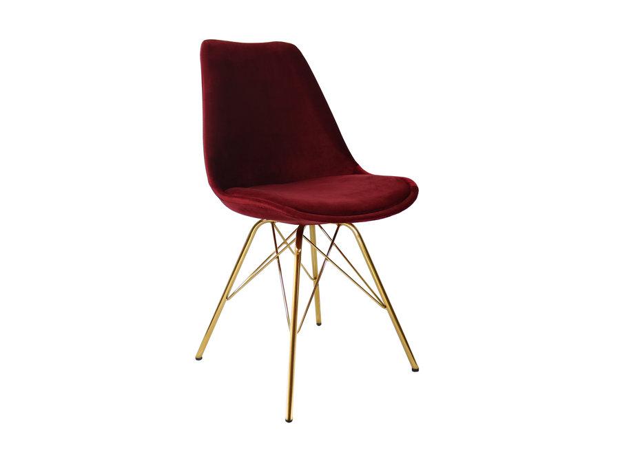 Kuipstoel Velvet Rood - Goud frame