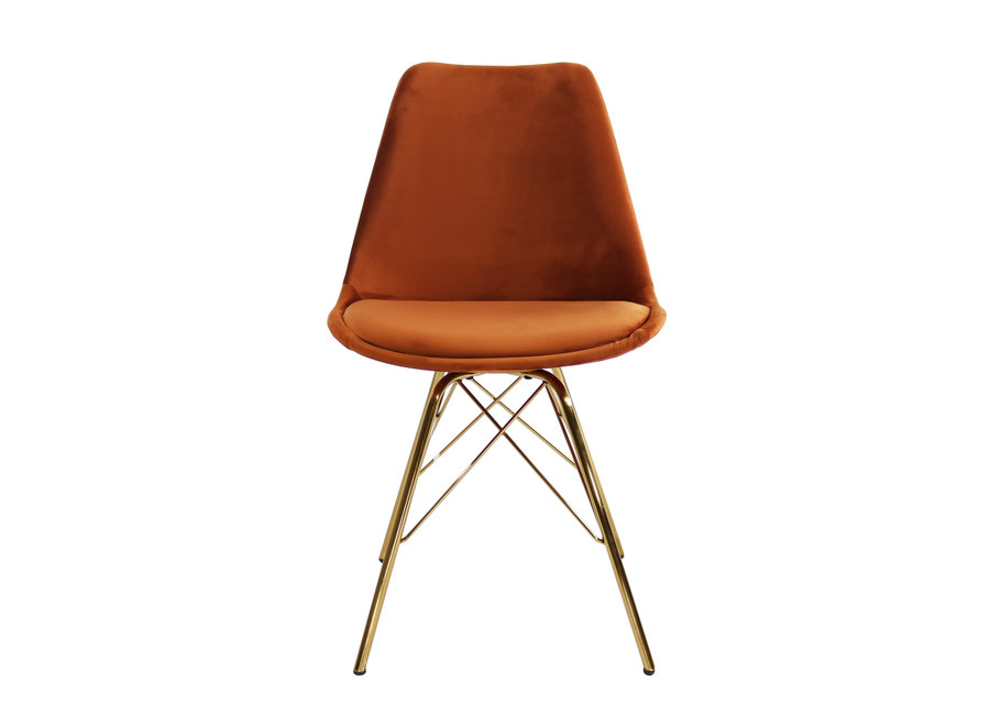 Kuipstoel Velvet Oranje - Goud frame