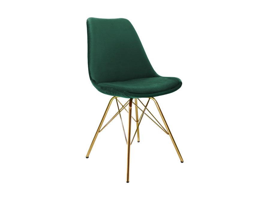 Kuipstoel Velvet Donker Groen - Goud frame