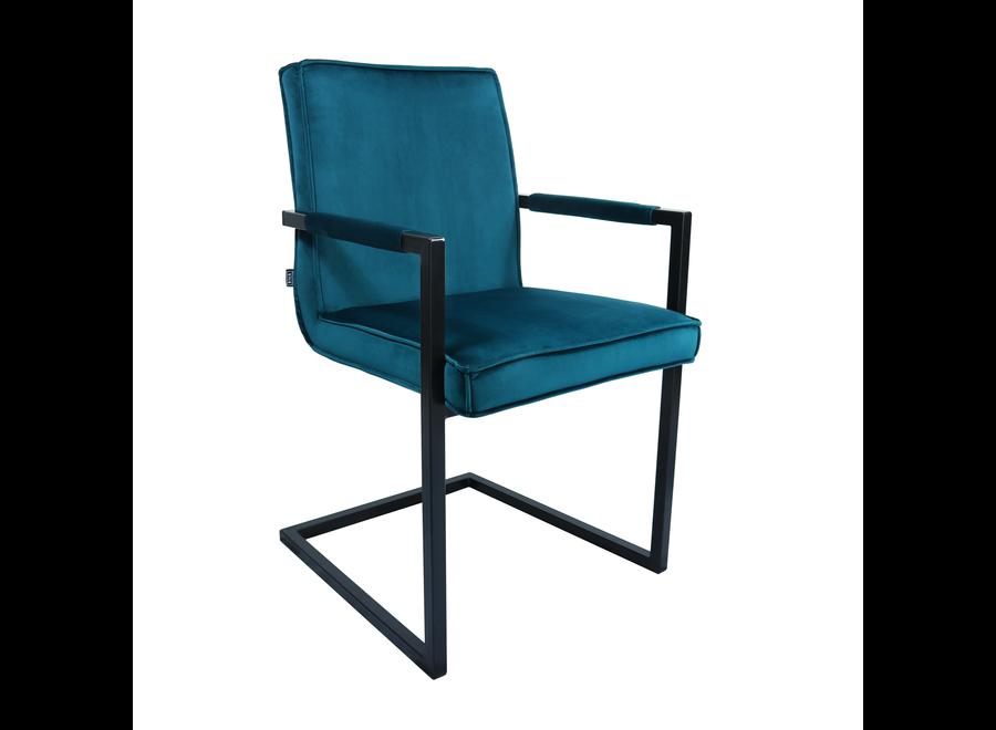 Chaise de salle à manger Jim - Velours Bleu