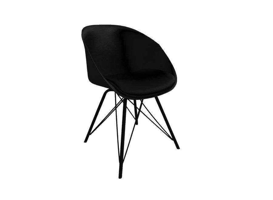 Chaise de salle à manger Metal Jax - Noir