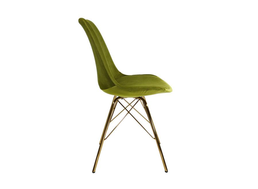 Kuipstoel Velvet Groen - Goud frame